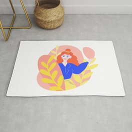 Young girl smiling. Cute illustration with floral elements.  Rug