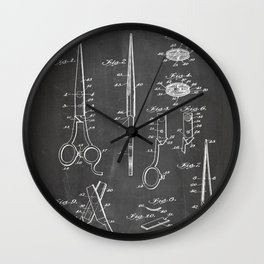 Hair Scissors Patent - Salon Art - Black Chalkboard Wall Clock