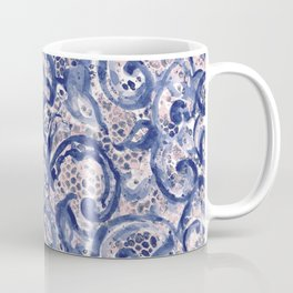 Vinage Lace Watercolor Blue Blush Coffee Mug