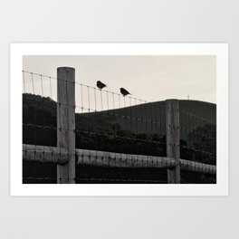 with a cross on the hill Art Print