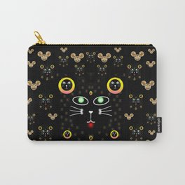 Merry black cat in the night and a mouse involved pop-art Carry-All Pouch