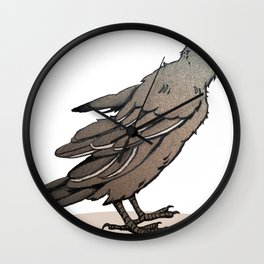 Crowing Crow Wall Clock