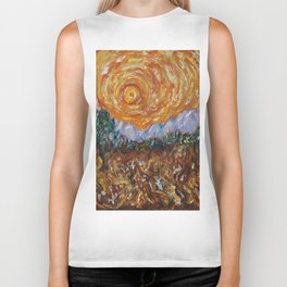 Trees, Yellow Sky and Sun Inspired by Vincent Van Gogh's Painting Biker Tank