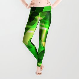 Spring gentle green horizontal strict stripes of sparkling grass triangles. Leggings