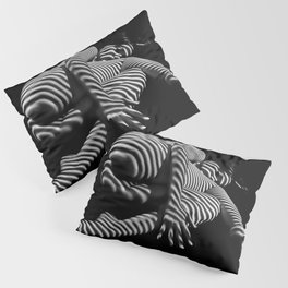 7841-KMA BW Striped Fine Art Nude Woman Emerging From Fetal Position Pillow Sham