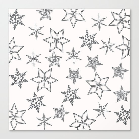 Grey Snowflakes On White Background Canvas Print