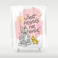 best friends Shower Curtains featuring Best friends by Maccio