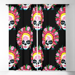 Sugar Skull Girl - La Calavera Catrina Blackout Curtain