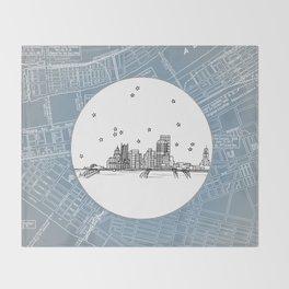 Pittsburgh, Pennsylvania City Skyline Illustration Drawing Throw Blanket