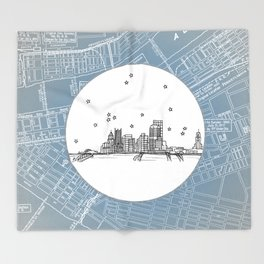 Pittsburgh, Pennsylvania City Skyline Illustration Drawing Throw Blanket