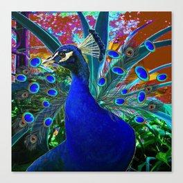 CHOCOLATE & BLUE PEACOCK FANTASY ART ABSTRACT Canvas Print