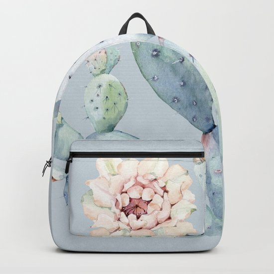 Prettiest Rose Cactus Blue Backpack