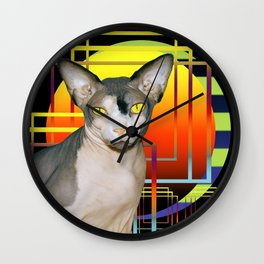 Vamp Sphynx Cat (black) Wall Clock