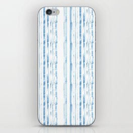 Blue watercolor stripe iPhone Skin