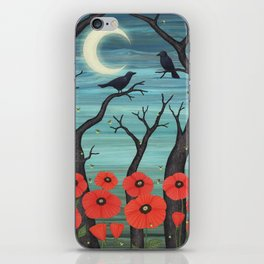 crows, fireflies, and poppies in the moonlight iPhone Skin