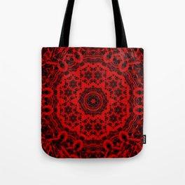 Vibrant red and black wattle mandala Tote Bag