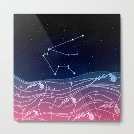 Aquarius Zodiac Constellation Design Metal Print