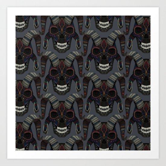 demon skull charcoal Art Print