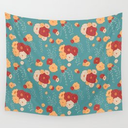 Anemone Floral Bouquets on Blue Wall Tapestry