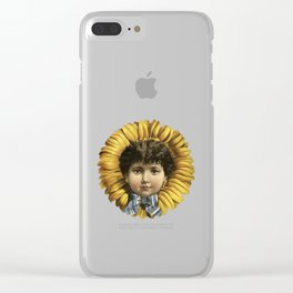 Vintage Illustration Flower with a girl's face Clear iPhone Case