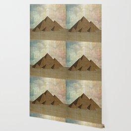 Pyramids of Giza on Papyrus Wallpaper