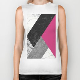 Black and White Marbles and Pantone Pink Yarrow Color Biker Tank