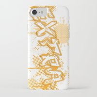 grafitti iPhone & iPod Cases featuring extra splash orange grafitti design by sleepwalkerMTS