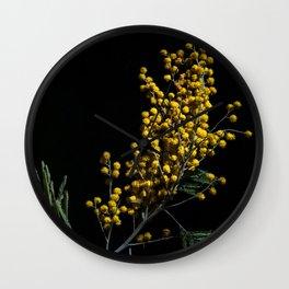 Silver Wattle Flowers Wall Clock