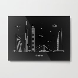 Dubai Minimal Nightscape / Skyline Drawing Metal Print