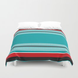 Geometric Pattern #202 (red and teal) Duvet Cover