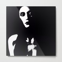 The Lady In Black & White Metal Print