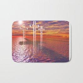 Christian crosses on red sea Bath Mat
