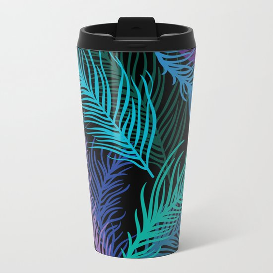Multicolored palm leaves Metal Travel Mug