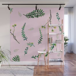 Greenery Pink Background Wall Mural
