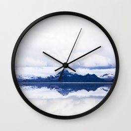Navy blue Mountains Against Lake With Clouds Wall Clock