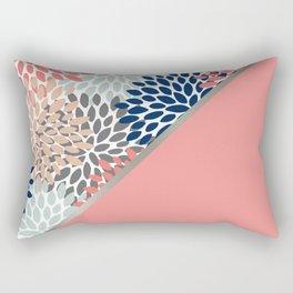 Modern, Floral Prints, with Block Color, Coral, Aqua, Blue Rectangular Pillow