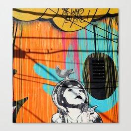 Girl and Pigeon StreetArt Canvas Print