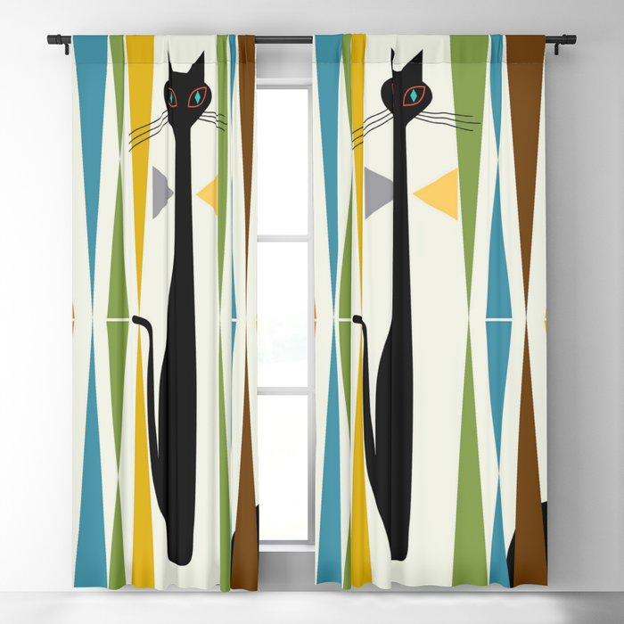 Mid-Century Modern Art Cat 2 Blackout Curtain