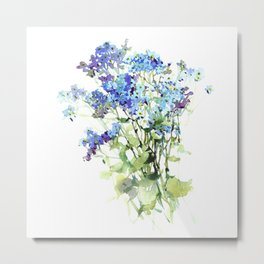 Forget-me-not watercolor aquarelle flowers Metal Print