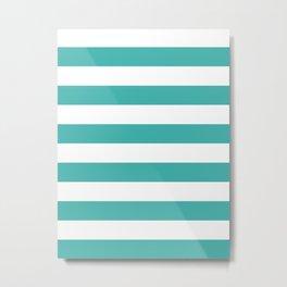 Horizontal Stripes - White and Verdigris Metal Print