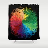 terry fan Shower Curtains featuring Fan by kartalpaf