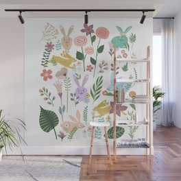 Springtime In The Bunny Garden Of Floral Delights Wall Mural