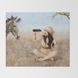 """Safari"" - The Playful Pinup - Khaki Safari Pin-up Girl by Maxwell H. Johnson Throw Blanket"