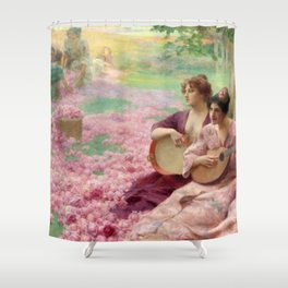 """Classical Masterpiece """"The Rose Festival"""" by Henry Siddons Mowbray Shower Curtain"""