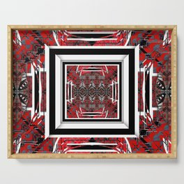 NUMBER 221 RED BLACK GRAY WHITE PATTERN Serving Tray