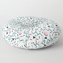 Back to the 80's eighties, funky memphis pattern design Floor Pillow