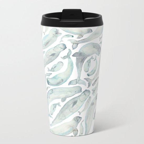 Beluga Whales Metal Travel Mug