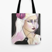 jane davenport Tote Bags featuring Green Eyed by Jane Davenport by Jane Davenport