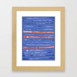 Blue and Coral Stripes Framed Art Print