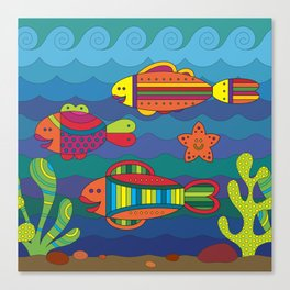 Stylize fantasy fishes under water. Canvas Print